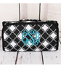 Black and White Quatrefoil Roll Up Cosmetic Bag #CB25-15-BW