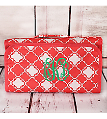 Coral Pink and White Quatrefoil Roll Up Cosmetic Bag #CB25-15-P