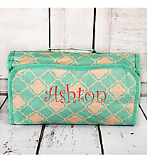 Mint Green and Natural Quatrefoil Roll Up Cosmetic Bag #CB25-15-TO