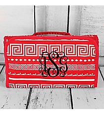 Pink Greek Key Roll Up Cosmetic Bag #CB25-16-P