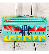 Red and Yellow Greek Key Mint Roll Up Cosmetic Bag #CB25-16-TO