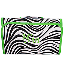 Zebra Print with Green Trim Roll Up Cosmetic Bag #CB25-2006-G