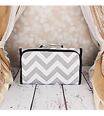 Gray and White Chevron Small Roll Up Jewelry Bag #CB50-1325 Roll Up Jewelry Bag #CB50-1324