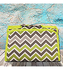 Green and Gray Chevron Small Roll Up Jewelry Bag #CB50-1326