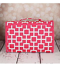 Pink and White Connecting Squares Small Roll Up Jewelry Bag #CB50-1334-2
