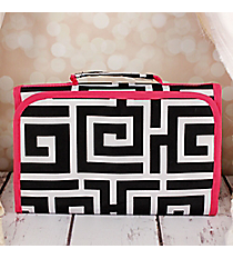 Black and White Greek Key with Pink Trim Small Roll Up Jewelry Bag #CB50-704-BK-PK