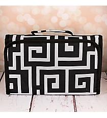 Black and Gray Greek Key Small Roll Up Jewelry Bag #CB50-704