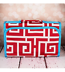 Pink and White Greek Key with Blue Trim Small Roll Up Jewelry Bag #CB50-704-PK-BL