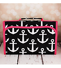 Black and White Anchor with Pink Trim Small Roll Up Jewelry Bag #CB50-706-BK-PK