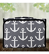 Gray and White Anchor Small Roll Up Jewelry Bag #CB50-706-GRAY
