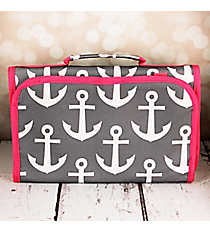 Gray and White Anchor with Pink Trim Small Roll Up Jewelry Bag #CB50-706-GR-PK