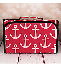 Pink and White Anchor with Black Trim Small Roll Up Jewelry Bag #CB50-706-PK-BK