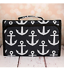 Black and Gray Anchor Small Roll Up Jewelry Bag #CB50-706