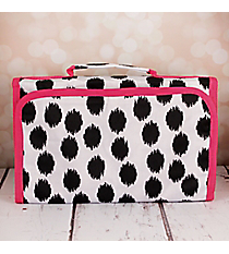 Black Brushed Dots with Pink Trim Small Roll Up Jewelry Bag #CB50-707-BK-PK