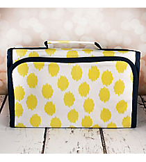 Yellow Brushed Dots with Navy Blue Trim Small Roll Up Jewelry Bag #CB50-707-Y-BL