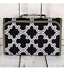 Black and Gray Moroccan Small Roll Up Jewelry Bag #CB50-708-BK8-BL