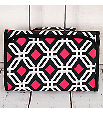 Black and Pink Diamond Daze Small Roll Up Jewelry Bag #CB50-709-BK