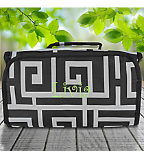Black and Gray Greek Key Roll Up Cosmetic Bag #CB-704