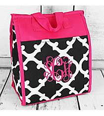 Black and White Moroccan with Dark Pink Trim Insulated Lunch Tote #CC18-11-BW-P