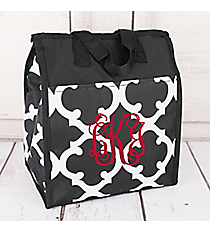 Black and White Moroccan Insulated Lunch Tote #CC18-11-BW
