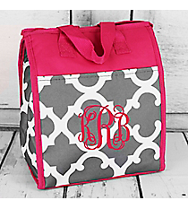 Grey and White Moroccan with Dark Pink Trim Insulated Lunch Tote #CC18-11-GREY-P