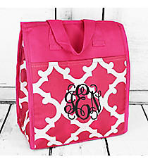 Dark Pink and White Moroccan Insulated Lunch Tote #CC18-11-P