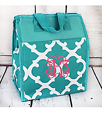 Turquoise and White Moroccan Insulated Lunch Tote #CC18-11-TO