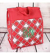 Coral Pink and White Quatrefoil Insulated Lunch Tote #CC18-15-P