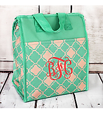 Mint Green and Natural Quatrefoil Insulated Lunch Tote #CC18-15-TO