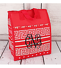Pink Greek Key Insulated Lunch Tote #CC18-16-P