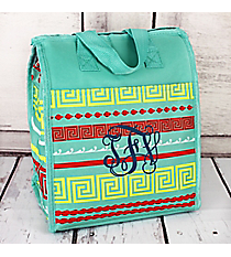 Red and Yellow Greek Key Mint Insulated Lunch Tote #CC18-16-TO