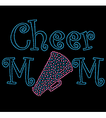 "Sparkling ""Cheer Mom"" 7"" x 9.5"" Rhinestone Applique Iron-On CD02 *Personalize Your Colors"