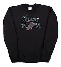 "Sparkling ""Cheer Mom"" Heavy-weight Crew Sweatshirt 7"" x 9.5"" Design CD02 *Personalize Your Colors"