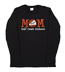 "Glittering ""Cheer Mom"" Long Sleeve Relaxed T-Shirt 9"" X 4"" Design CD09 * Personalize Your Colors"