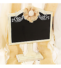 9.75 x 8 Tabletop Chalkboard with Burlap Flower #CFED0023