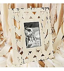 11 3/4 x 9 1/2 Distressed Cream Cut-Out Geometric 4x6 Photo Frame #CFEM0011