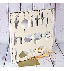 "15.75"" x 15.75"" Wood with Cut-Out ""Faith, Hope, Love"" Mirror Wall Decor #CFEM0035"