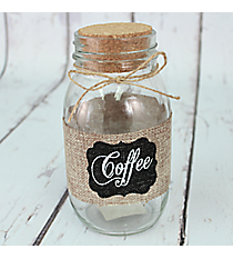 "7"" Burlap Accented ""Coffee"" Glass Jar #CFEM0049"