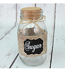 "7"" Burlap Accented ""Sugar"" Glass Jar #CFEM0050"