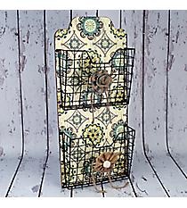 """26.5"""" x 11.75"""" Vintage Floral Hanging 2-Tier Storage Baskets #CFET0242"""