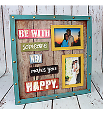 """15.75"""" x 15.75"""" """"Makes You Happy"""" Two Photo Frame Wall Hanging #CFEZ0092"""