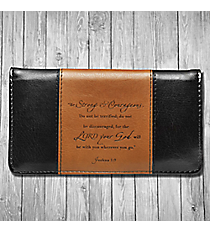 Joshua 1:9 'Strong & Courageous' Black and Brown Checkbook Cover #CHB018