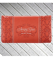 """Amazing Grace"" Coral Damask Print Checkbook Cover #CHB029"