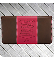Jeremiah 29:11 Pink and Brown Checkbook Cover #CHB031