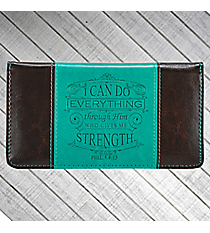 Philippians 4:13 Turquoise and Black Checkbook Cover #CHB032
