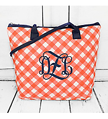 Coral and White Diamond Gingham Quilted Shoulder Bag with Navy Trim #CHE1515-CORAL
