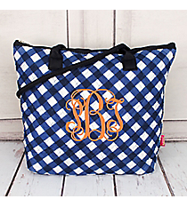 Navy and White Diamond Gingham Quilted Shoulder Bag #CHE1515-NAVY