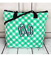 Mint and White Diamond Gingham Quilted Shoulder Bag with Navy Trim #CHE1515-MINT