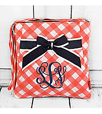 Coral and White Diamond Gingham Quilted Crossbody with Navy Trim #CHE1717-CORAL