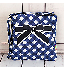 Navy and White Diamond Gingham Quilted Crossbody #CHE1717-NAVY